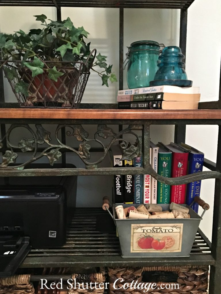 These are the middle shelves of the baker's rack in my Home Office. www.redshuttercottage.com