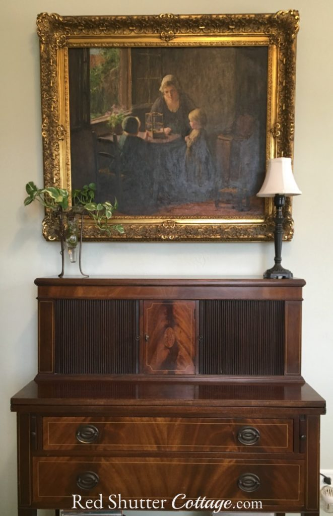My grandmother's mahogany Tambour desk in my Home Office. www.redshuttercottage.com