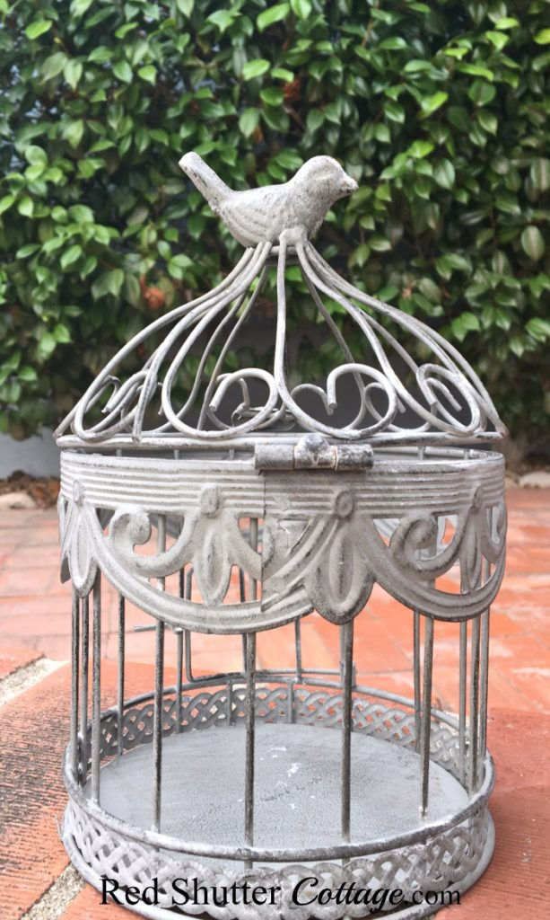 View of the birdcage with gray finish. www.redshuttercottage.com