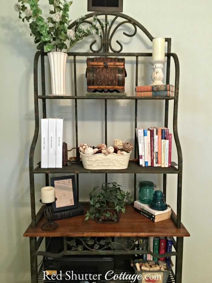 Full view of my baker's rack in my Home Office. www.redshuttercottage.com