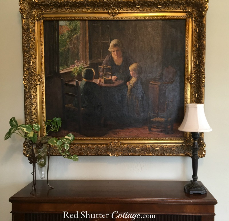My great-grandmother's painting by Bernard Pothast in my Home Office. www.redshuttercottage.com