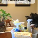 A carrier of cleaning supplies on the dining room table. www.redshuttercottage.com