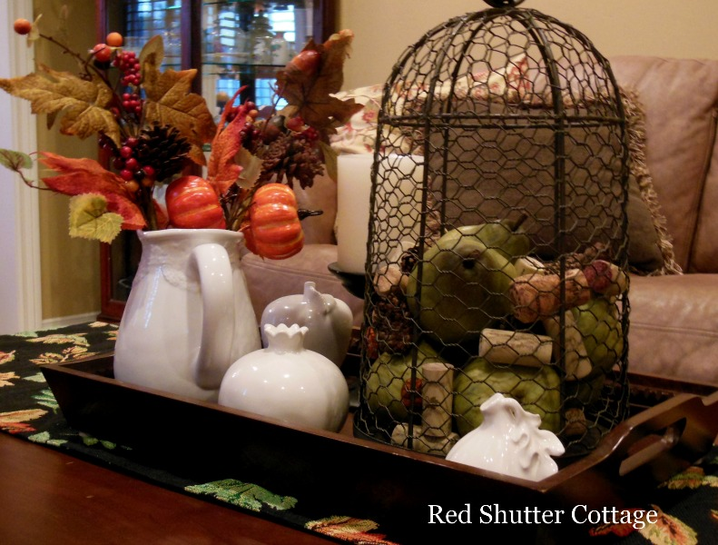 Wire Cloche with Fall Fruit and Leaves. 5 Decorating Pieces I use Year-Round.
