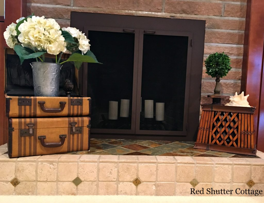 Summer Hearth with Hydrangeas & Small Topiary. How to Decorate a Summer Mantle