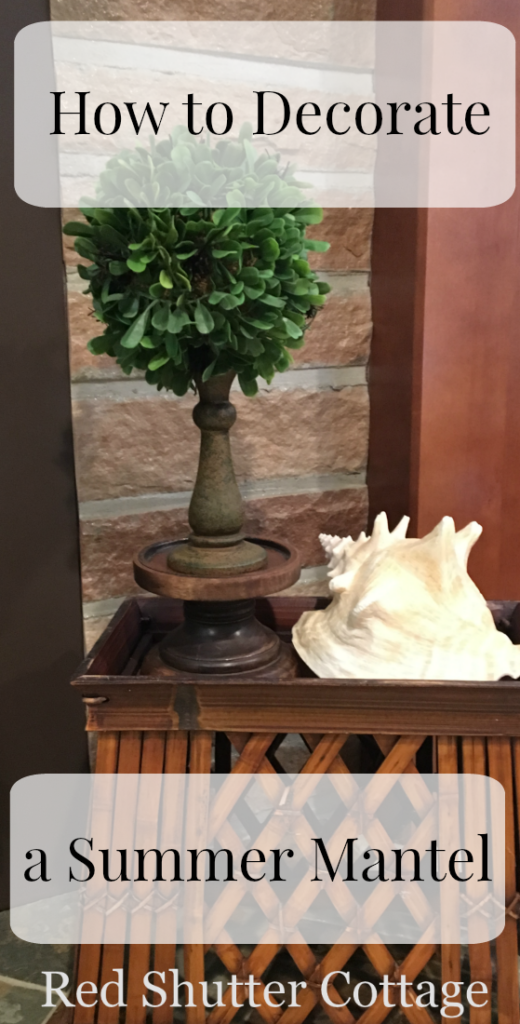 Decorate a Summer Mantel; Hearth showing shell and topiary.