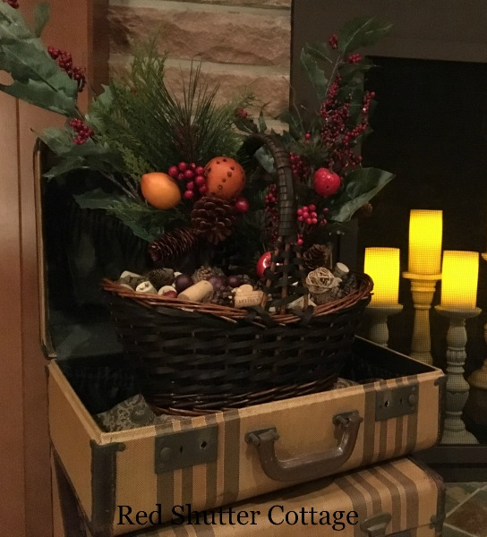 Suitcases on Christmas Hearth. 5 Decorating Pieces I use Year-Round.