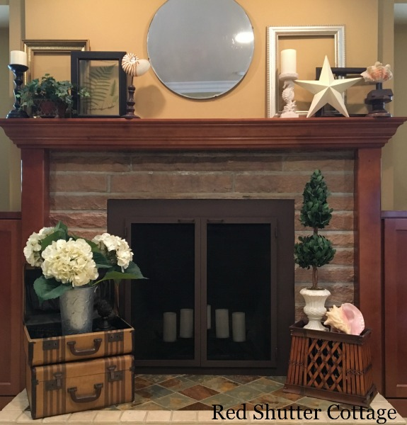 Suitcases on Summer Fireplace. 5 Decorating Pieces I use Year-Round.