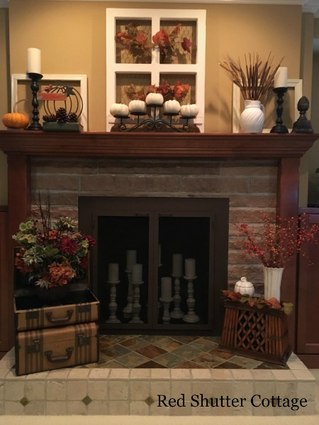 Fall Fireplace with Window on Mantle. 5 Decorating Pieces I use Year-Round.