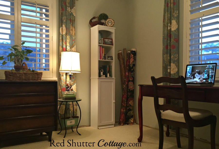 View of the corner of the Home Office showing two windows. www.redshuttercottage.com