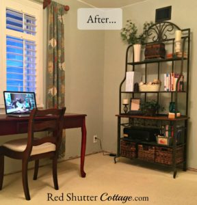 Final picture of corner between desk and bakers rack in Home Office. www.redshuttercottage.com