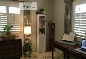 This is how the corner between two windows looks upon completion. www.redshuttercottage.com