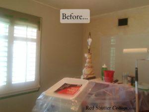 Before picture of corner between baker's rack and desk. www.redshuttercottage.com