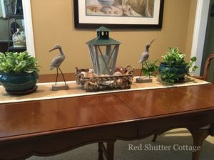 Summer dining table with sand pipers