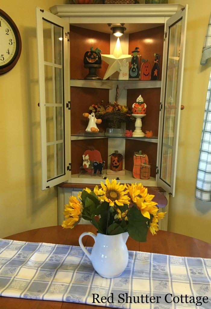 2016 Fall and Halloween Kitchen Tour full hutch and table
