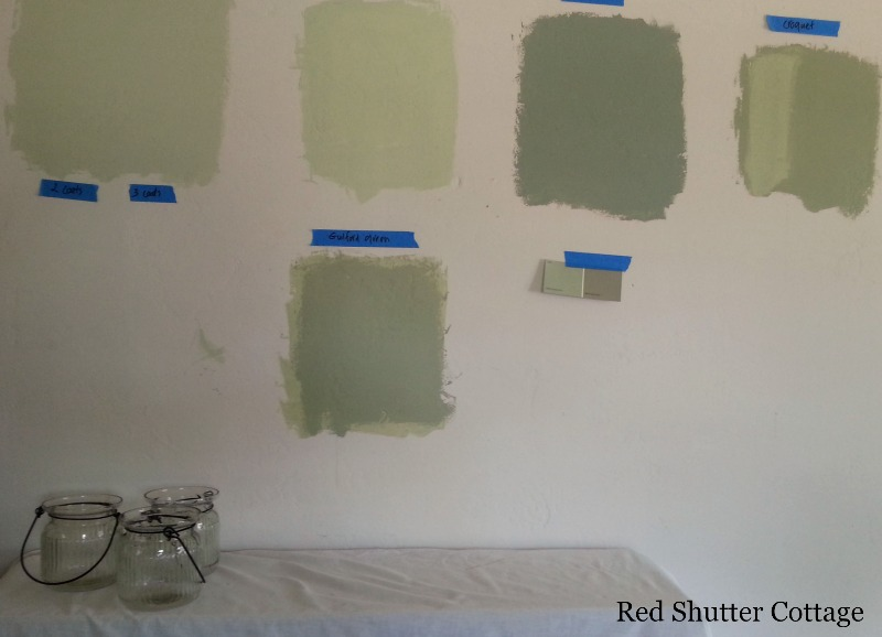 Paint samples to paint the bedroom walls. How I Created a Home Office from a Bedroom.