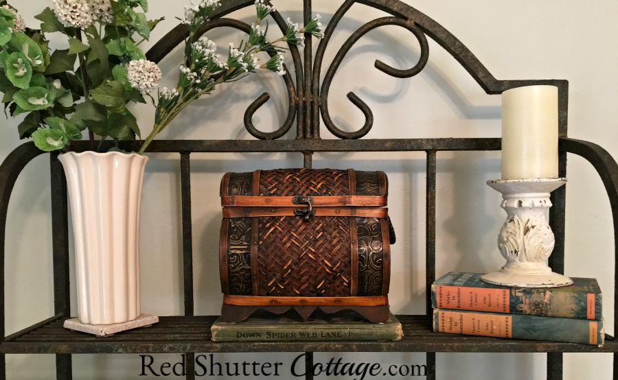 This is the top shelf of my baker's rack in my Home Office. www.redshuttercottage.com