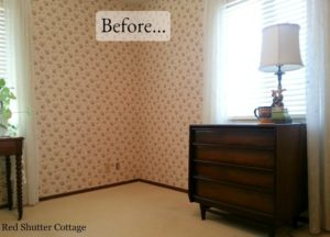 Before picture of corner & 2 windows in Home Office. www.redshuttercottage.com
