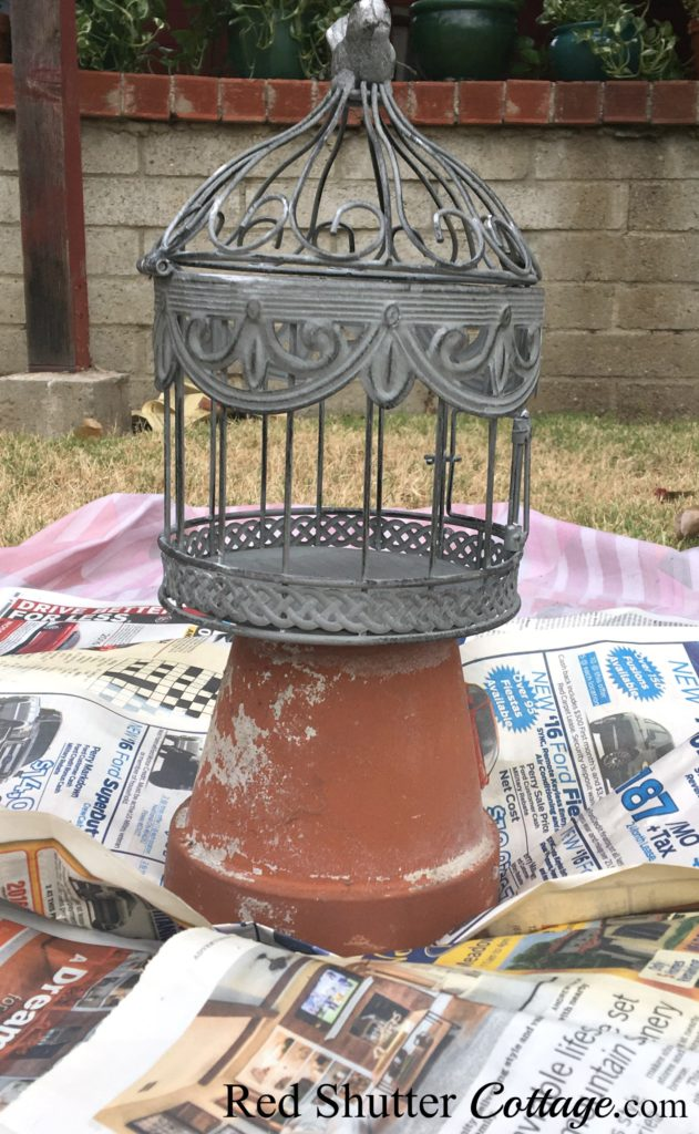 Decorative birdcage ready to be painted. www.redshuttercottage.com
