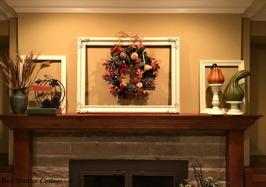 Our Fall 2017 mantel with wreath, pumpkins and wheat. www.redshuttercottage.com