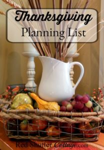 Thanksgiving Planning List