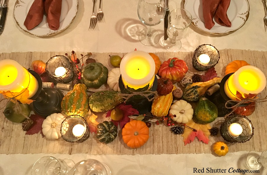 An overview of leaf candles for the Thanksgiving table tutorial. www.redshuttercottage.com