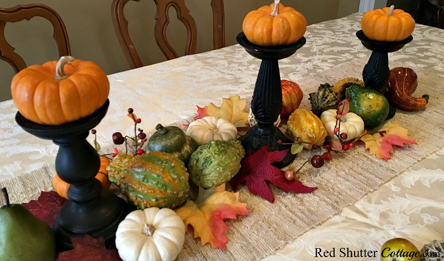 Another view of adding leaves & twigs as part of the Thanksgiving table tutorial. www.redshuttercottage.com