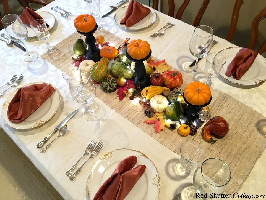 An overview of adding string lights to the Thanksgiving table tutorial. www.redshuttercottage.com