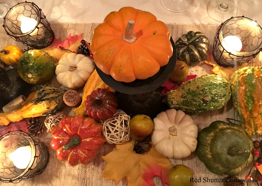 An overview of candles for the Thanksgiving table tutorial. www.redshuttercottage.com