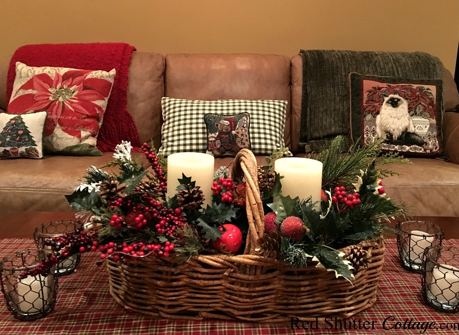 Christmas 2017 coffee table with Christmas basket and candles. www.redshuttercottage.com