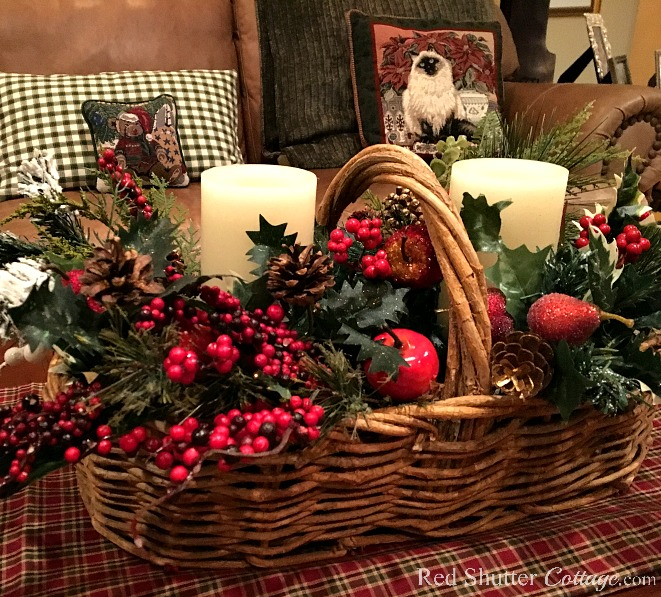 Christmas 2017 basket with Christmas greenery, fruit and berries. www.redshuttercottage.com
