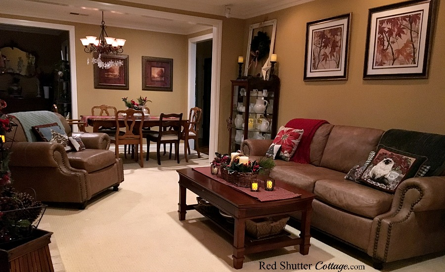 Christmas 2017 living room view of coffee table, couch and dining table. www.redshuttercottage.com