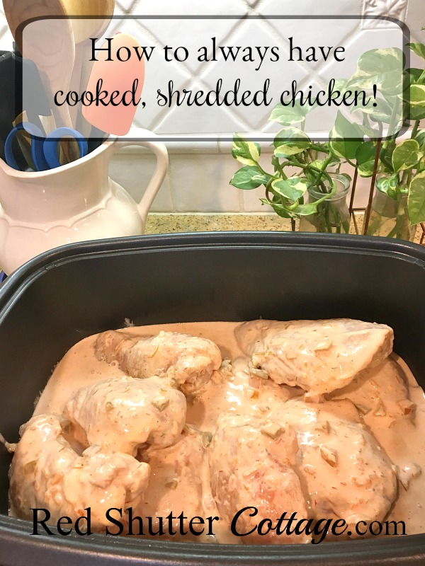 Use this simple method to always have cooked, shredded chicken. www.redshuttercottage.com