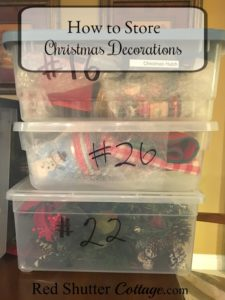 How to store Christmas Decorations using numbered bins. www.redshuttercottage.com