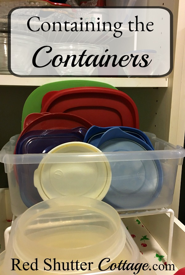 Here are some ideas to help with organizing and storing containers. www.redshuttercottage.com