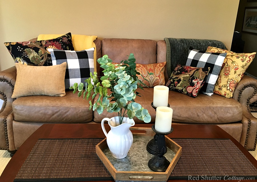 A front view of our sofa and coffee table as part of our 2018 Winter Living Room. www.redshuttercottage.com