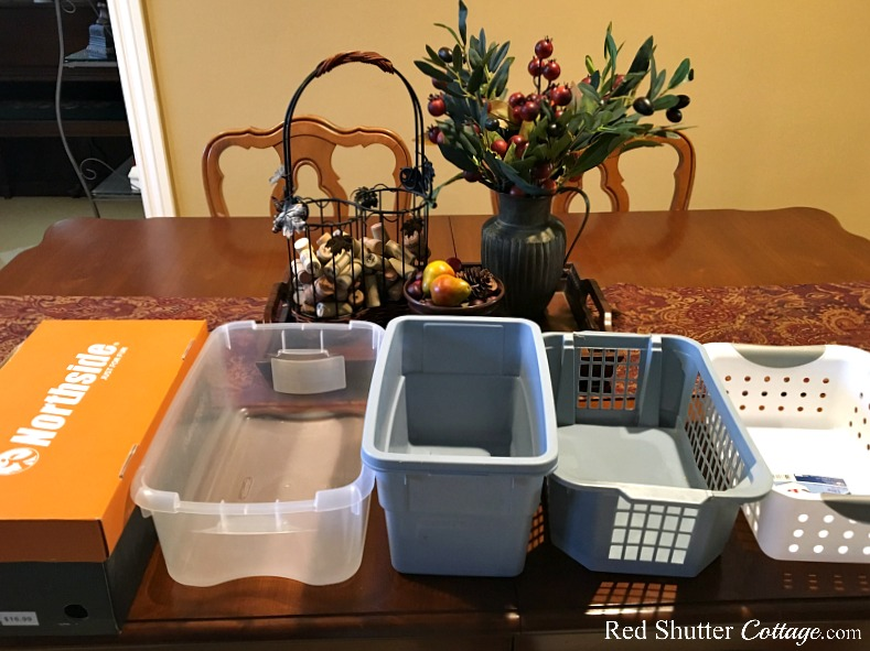 Boxes and holders for how to organize and store containers. www.redshuttercottage.com