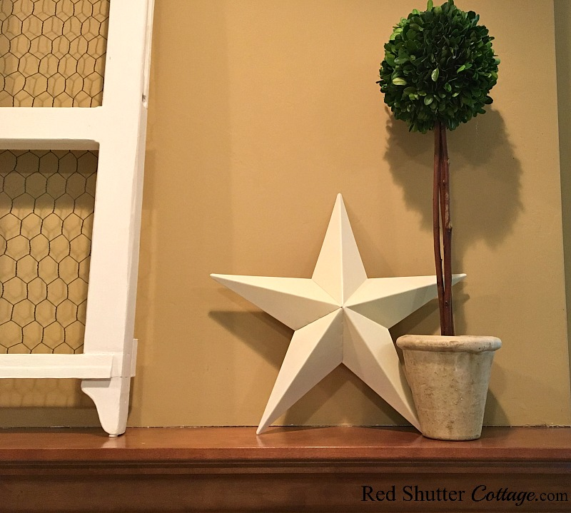 A close-up of a topiary and star on our 2018 Winter mantel. www.redshuttercottage.com