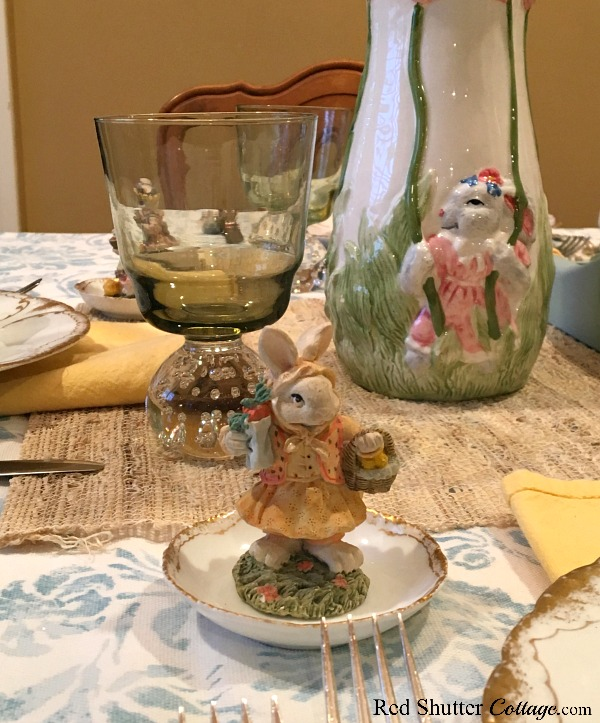 "A close up of one the ""bunny"" miniatures on the whimsical Spring / Easter table setting. www.redshuttercottage.com"