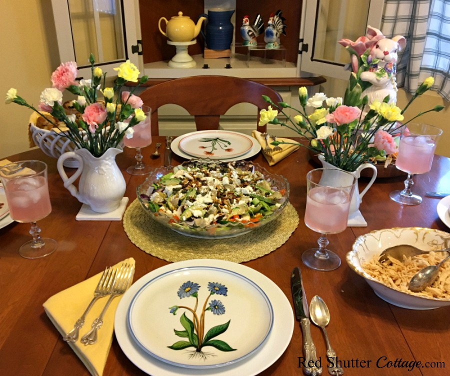 Here is a view of the Easter table including the Mediterranean Chicken salad. www.redshuttercottage.com