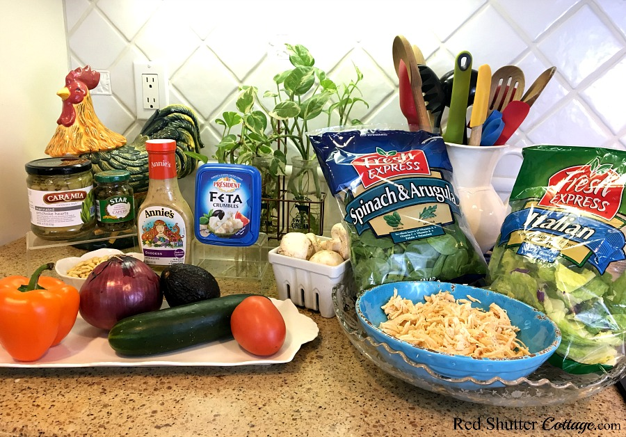 Here are the ingredients called for when making this recipe for a Mediterranean Chicken salad. www.redshuttercottage.com