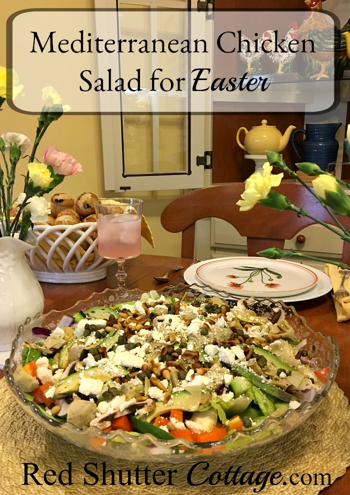 A recipe for a delicious Mediterranean Chicken salad that can be served for Easter or any time a salad is called for. www.redshuttercottage.com