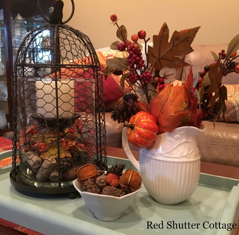 Cloche with Fall Fruit and Leaves, Fall 2016. www.redshuttercottage.com