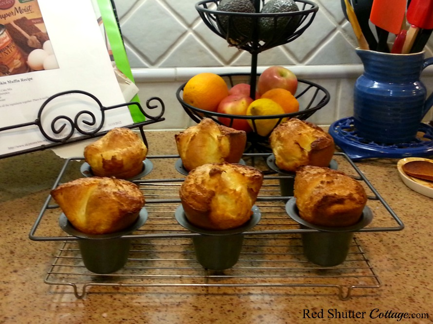 Popovers come out of the oven in a variety of sizes and colors. Popovers-food that's fun to eat! www.redshuttercottage.com