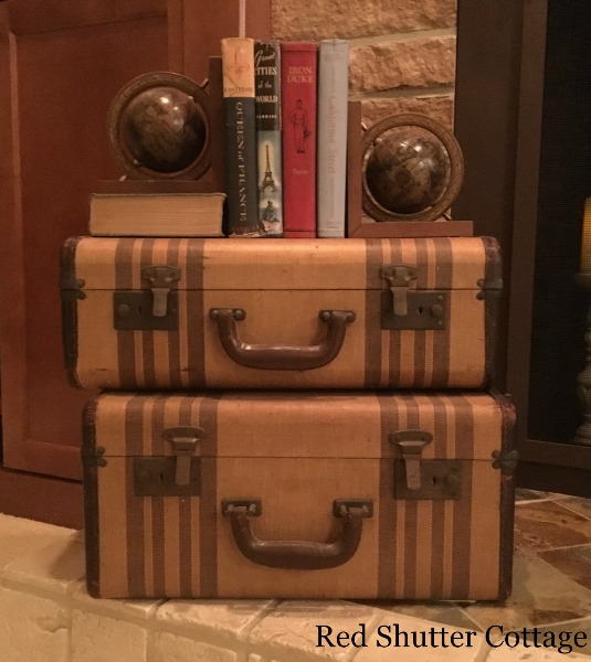 Suitcases on Early Winter Hearth. 5 Decorating Pieces I use Year-Round.