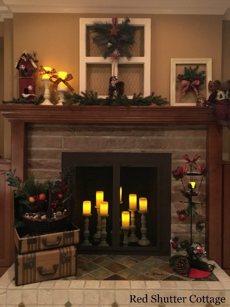 Christmas Fireplace with Window on Mantle. 5 Decorating Pieces I use Year-Round.