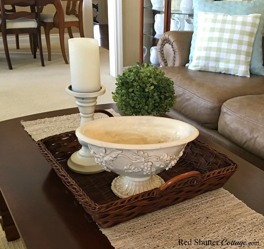 Adding this footed bowl to hold shells for the Summer Coffee Table. www.redshuttercottage.com