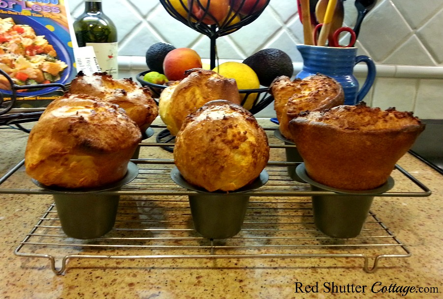 Popovers are easy to make and delicious anytime. Popovers-food that's fun to eat! www.redshuttercottage.com