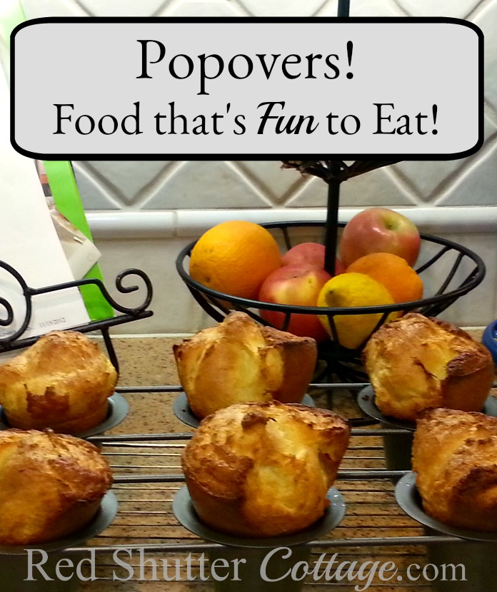 Popovers still in their pan, fresh out of the oven. Popovers-Food that's fun to eat! www. redshuttercottage.com