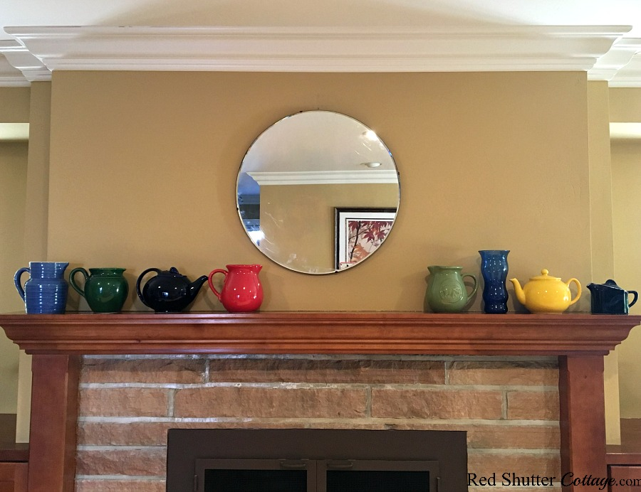 Too many colors on a mantel make it hard to focus, as part of 5 Steps to a Beautiful Mantel. www.redshuttercottage.com