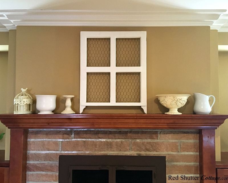 When all the accessories on the mantel are the same size, it's hard to focus on any one, as part of 5 Steps to a Beautiful Mantel. www.redshuttercottage.com
